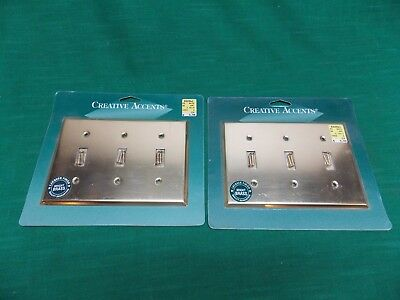 Brass 3 toggle light switch wall plates. Lot of 2. Creative Accents. on off