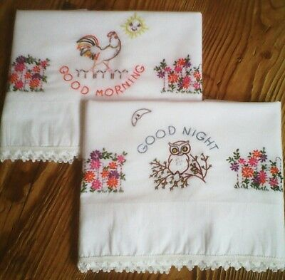 Vintage Embroidered Pillowcases (1 pr. NEW ) Good Morning Goodnight Embroidery