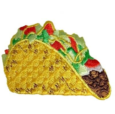 Taco Applique Patch - Hard Shell Beef Taco, Tomatoes, Lettuce, Cheese (Iron on)