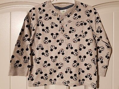 Baby Boys 6-9 Months Long Sleeved MICKEY MOUSE Top (A223)