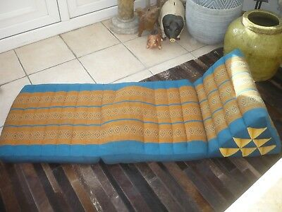 Vintage quality ethnic day bed/matress  gold/turquoise folds up Decorators  item