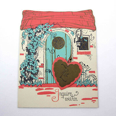 Vintage Art Deco Valentine Card Cute Cottage Door Opens Pink Roof Hanging Heart