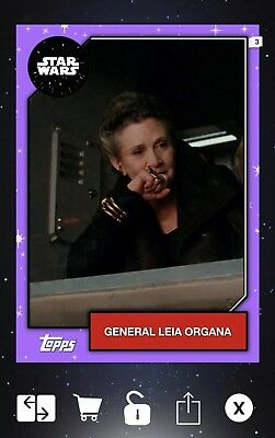 Topps Star Wars Card Trader General Leia 2019 Wave 2 Purple Base First Edition