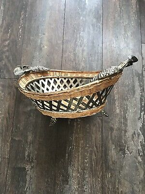 French Grape Fruit Basket in Wicker & Metalwork - With Grapevine Feet & Handles