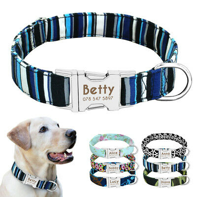 Personalized Dog Collar Customized Name ID Collar Tags Heavy Duty Buckle S M L