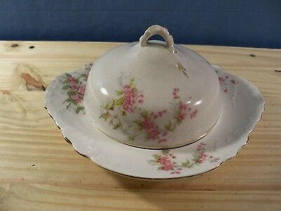 Vintage Shenango 3 Piece Covered Butter or Cheese Dish w/ Pink Flowers