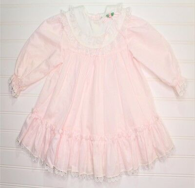 Vintage Bryan~Pink With Lace Ruffle Hem - Baby Girls' Dress - Size 24 Months