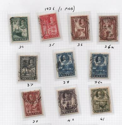 NIGERIA: 1936 Examples - Ex-Old Time Collection - Album Page (21056)