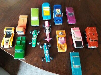 Job Lot bundle of Matchbox vintage Diecast toy cars 1970s. Collection of 14