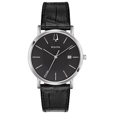Bulova Classic Men's Quartz Silver Tone Black Leather Band 37mm Watch 96B283