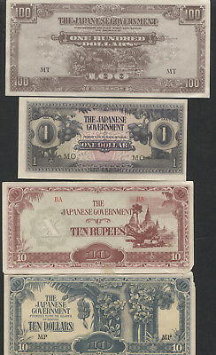 Japanese Invasion Currency World War II Mixed Lot of 11 Different.
