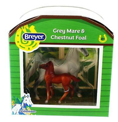 Breyer 1:32 Stablemates Model Horse: Grey Mare & Chestnut Foal