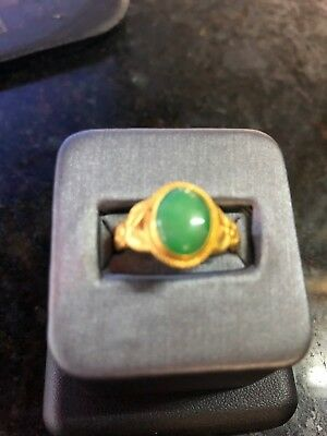 22K Antique Chinese Yellow Gold Jade Ring Size 7/5.9 Grams