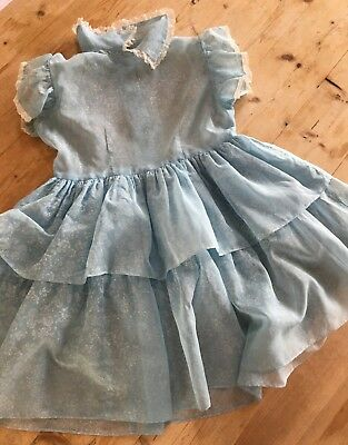 Vintage Girls Dress Blue Sheer Frilly Flowers Floral Tiered Layered Lace Ruffles