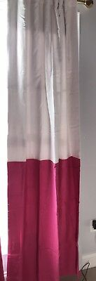Pottery Barn Kids Bright Pink Linen Color Block Blackout Panel Drape Curtain 84""