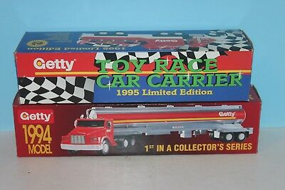 1994 Getty Toy Tanker & 1995 Getty Toy Race Car Carrier Trucks w/ Original Boxes