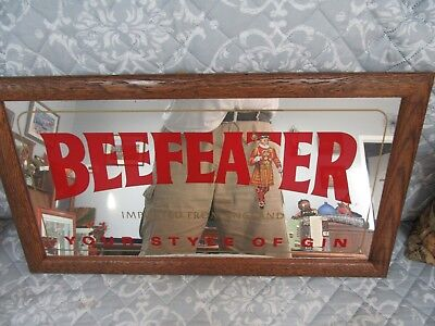 Vintage Beefeater Gin England Wall Mirrored Sign Wood Frame 26 By 15