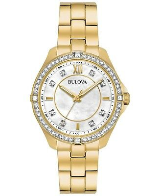 Bulova Women's Quartz Crystal Accents Gold-Tone Bracelet 35mm Watch 98L230
