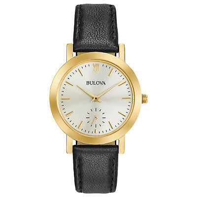 Bulova Women's 97L159 Quartz Gold-Tone Case Black Leather Strap 32mm Watch