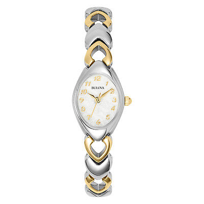 Bulova Women's 98V02 Quartz Silver-Tone Case Two-Tone Bracelet 18mm Watch
