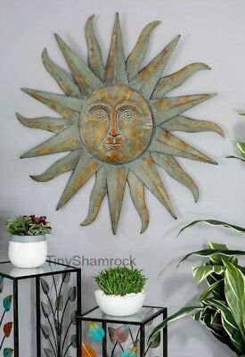 Large Sun Face Wall Art Metal Starburst Garden Art Iron Celestial Sunface 35""
