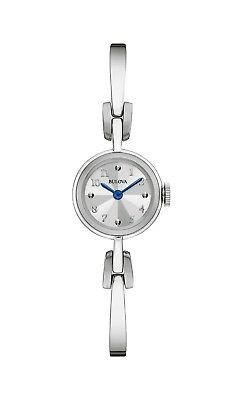 Bulova Women's 96L222 Quartz Blue Hands Silver-Tone Bangle Bracelet 22mm Watch