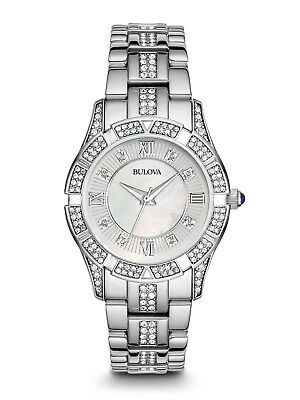 Bulova Women's 96L116 Quartz Crystal Accents Silver-Tone Bracelet 30mm Watch