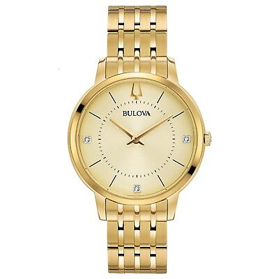 Bulova Women's 97P123 Quartz Diamond Accented Gold-Tone Bracelet 36mm Watch