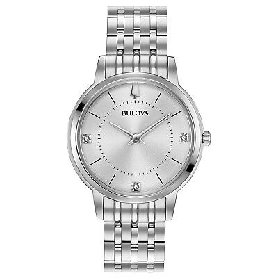 Bulova Women's 96P183 Quartz Diamond Accented Silver-Tone Bracelet 33mm Watch