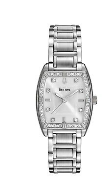 Bulova Women's 96R162 Quartz Diamond Accented Silver-Tone Bracelet 24mm Watch