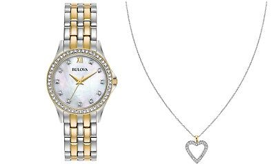 Bulova Women's Quartz Crystal Accents Two Tone 28mm Watch and Pendant 98X113