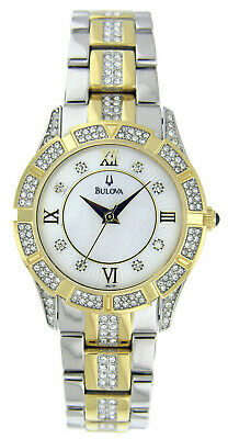 Bulova Women's 98L135 Quartz Crystal Accented Two-Tone Bracelet 30mm Watch