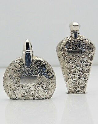 Pair of Antique Mini Sterling Silver Refillable Perfume Bottles w/Wand