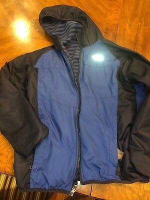 The North Face Boys Large 14 16 Insulated Reversible Hooded Fleece Blue Jacket