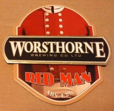 Beer pump clip badge front WORSTHORNE brewery RED MAN father christmas cask ale