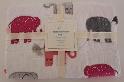 NWT Pottery Barn Kids Harper Elephant nursery toddler crib quilt bright pink