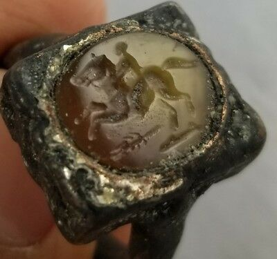 Roman ancient Silver and Agate Ring