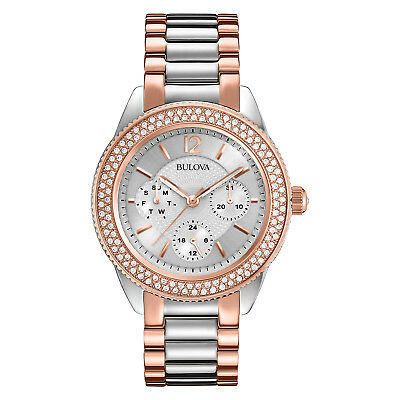 Bulova Women's 98N100 Quartz Crystal Accented Two-Tone Bracelet 38mm  Watch