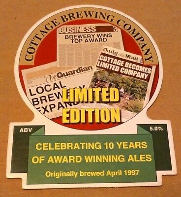 Beer pump clip badge front COTTAGE brewery LIMITED EDITION cask ale Somerset