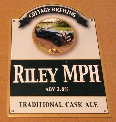 Beer pump clip badge front COTTAGE brewery RILEY MPH cask ale Somerset car