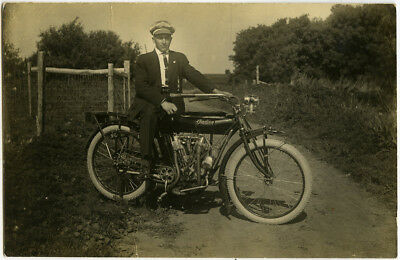 Fantastic INDIAN Motorcycle RPPC of a Dapper Dandy Seated in Suit, on Dirt Road!