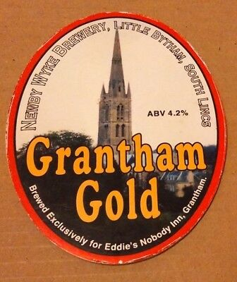 Beer pump clip badge front NEWBY WYKE brewery GRANTHAM GOLD ale Lincolnshire