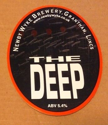 Beer pump clip badge front NEWBY WYKE brewery THE DEEP cask ale Lincolnshire