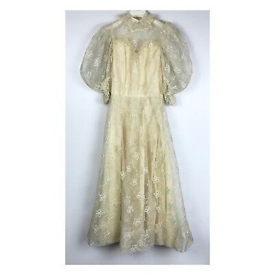 Vintage Lace Victorian Puffy Sleeve Handmade Embroidered Ivory Dress