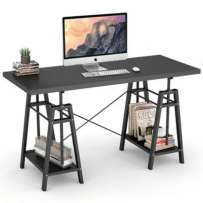 Height Adjustable Computer Desk PC Writing Table Workstation with 2 Open Shelves