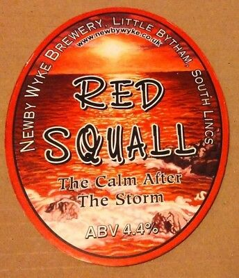 Beer pump clip badge front NEWBY WYKE brewery RED SQUALL cask ale Lincolnshire