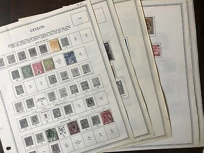 CEYLON 1900- 1970's  Old Stamps Collection on Minkus pages  160+. Used - MH