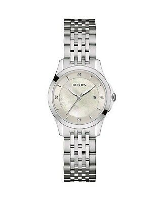 Bulova Women's Quartz Diamond Accents Silver-Tone Bracelet 28mm Watch 96P160