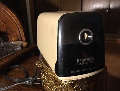 VINTAGE Panasonic KP-380 Electric Pencil Sharpener Auto Stop Putty/Tan JAPAN EUC