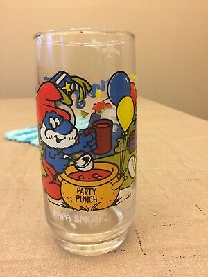 Vintage 1983 Smurf Glass from Hardees - Papa Smurf